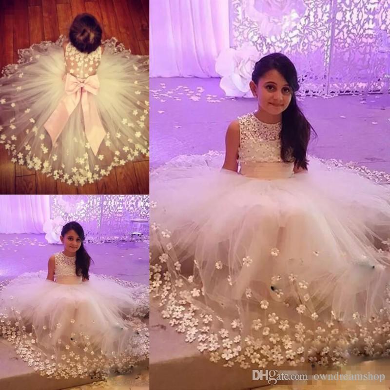 Compre Princesa Cute Flor Girl Vestidos Para Bodas Gran Bow Tiered ...