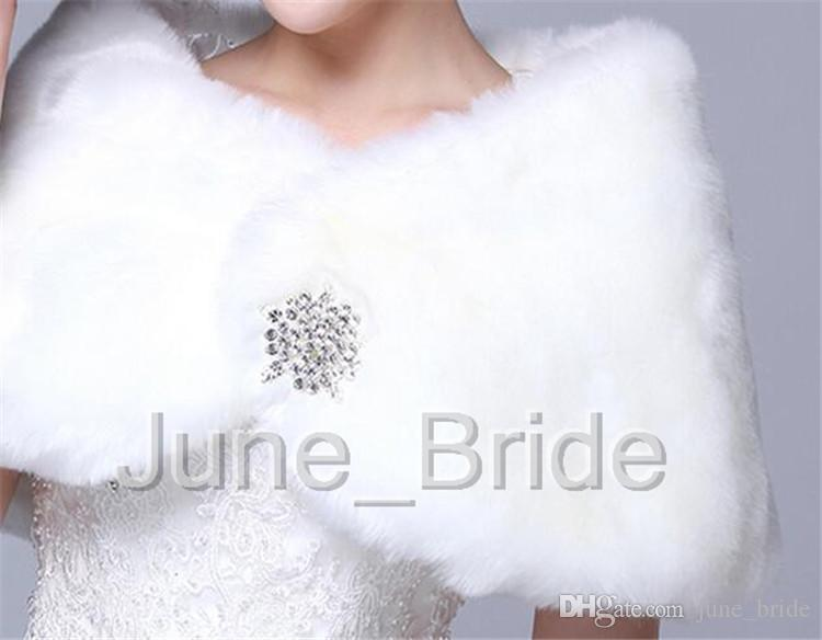 High Quality Red Light Ivory Faux Fur Bridal Wrap Winter Wedding Dress Jacket Shawl Marriage Shrug Coat Party Boleros with Crystal Brooch