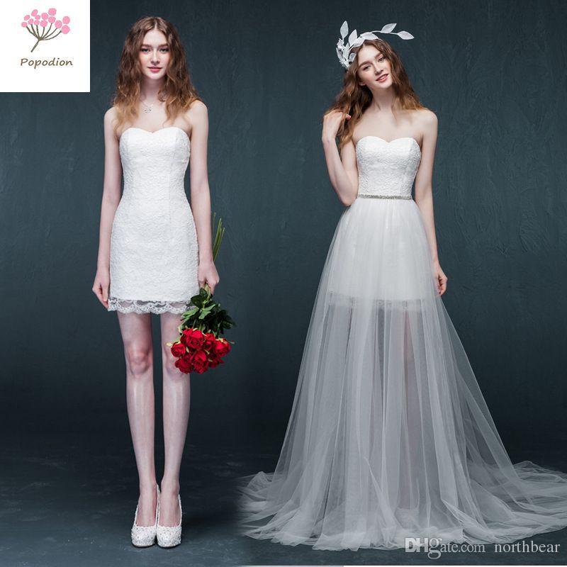 Detachable Lace Strapless Short Style Wedding Dress Elegant Lace