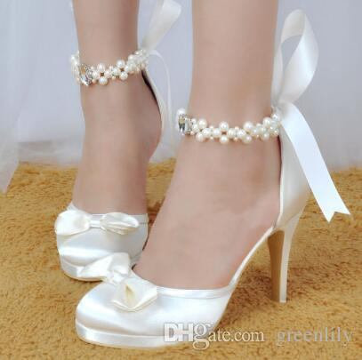 wide wedding shoes 2017 white wedding shoes with bowknot crystals pearl 1406