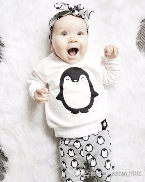 f066f4955078 Cartoon Penguin Baby Girl Clothing Sets Baby Boy Cotton Long Sleeve ...