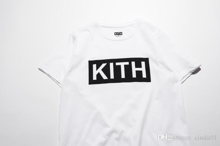 Men Clothing Summer Mens T-shirts KITH Fashion Letters Printed Tee Cool Short Sleeved Crew Neck Tees Man Women White Black Tops