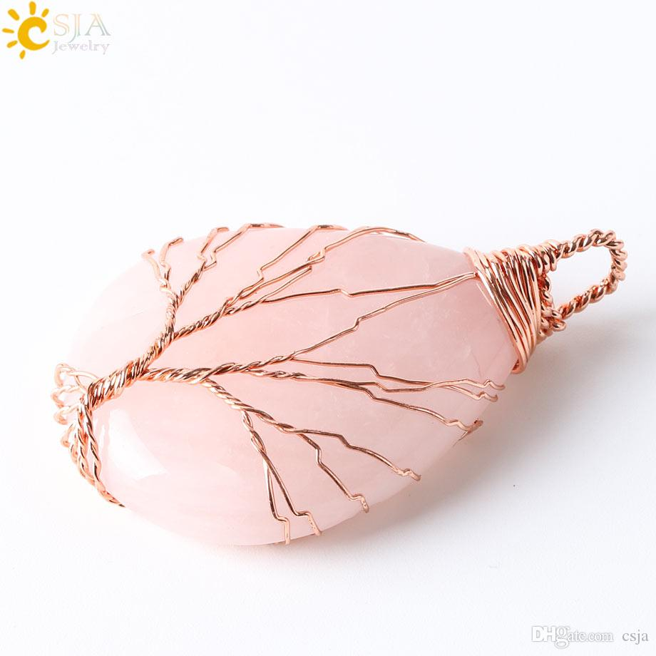 CSJA Handmade Wire Wrap Tree Tear Drop Natural Amethyst Quartz Opal Tiger Eye Stone Charms Pendant Leather Rope Necklaces E223 B