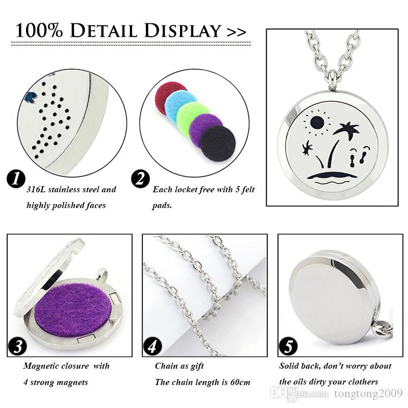 Free with Chain and Pads! New Trendy High Quality Magnetic Locket Pendant Jewery 316L Stainless Steel Aromatherapy Perfume Locket Necklace