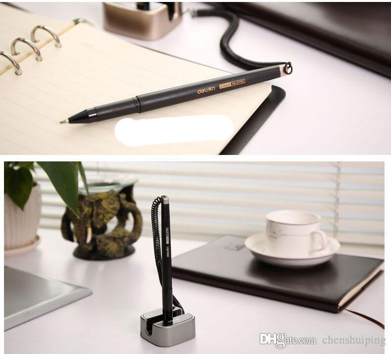 Top 0.5mm Gold Silver Color Desk pen Table mounted Gel pen for bank front finance counter Korea Stationary Office material school supplies