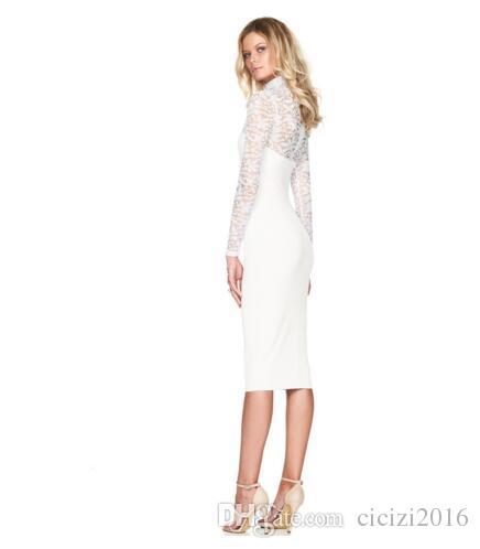 Mini abiti da donna in pizzo Autunno Plus Size Manica lunga impero sexy Scava fuori abito da sera sottile Nero Ziper bianco P1709-02