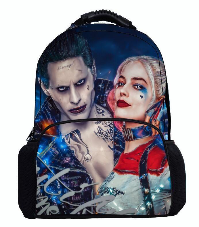 De calidad superior 17 pulgadas de fieltro mochila Suicide Squad Harley Quinn adolescente Kids School Bag Bookbags bolsas de ordenador portátil niños niñas mochila de viaje al aire libre