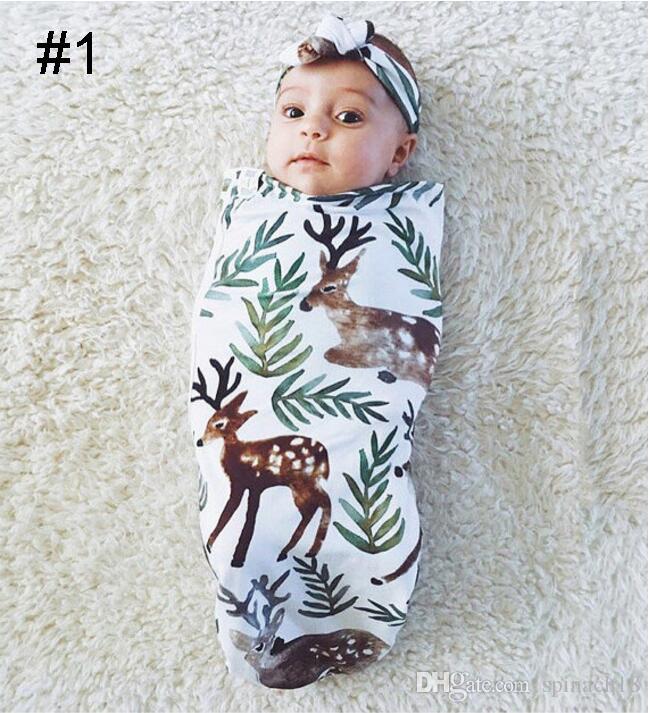 Ins nuevo bebé infantil Swaddle sacos de dormir bebés niños niñas muselina manta + diadema bebé recién nacido suave algodón capullo dormir saco conjunto de dos piezas