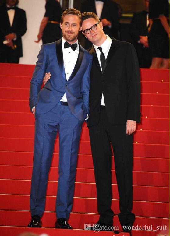 Nuovo 2015 uomini di disegno blu dello sposo dello sposo matrimonio vestito da uomo Slim Fit Groomsman sposo giacca + pantaloni + cravatta