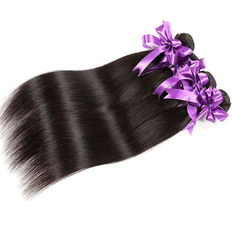Unprocessed Virgin Human Hair 4 Bundles Peruvian Malaysian Brazilian Human Hair Extensions 8-30 Inch Natural Color Straight Hair Weaves