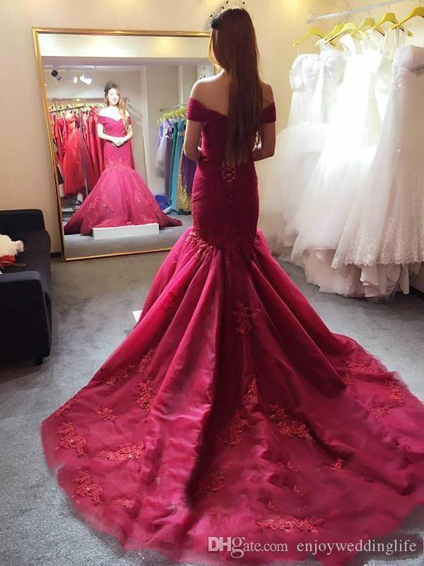 4d7b0d1335 2017 Elegant Burgundy Mermaid Prom Dresses Off The Shoulder Lace Appliqued  Corset Back Evening Dresses Long Tulle Court Train Pageant Gowns Short Lace  Dress ...