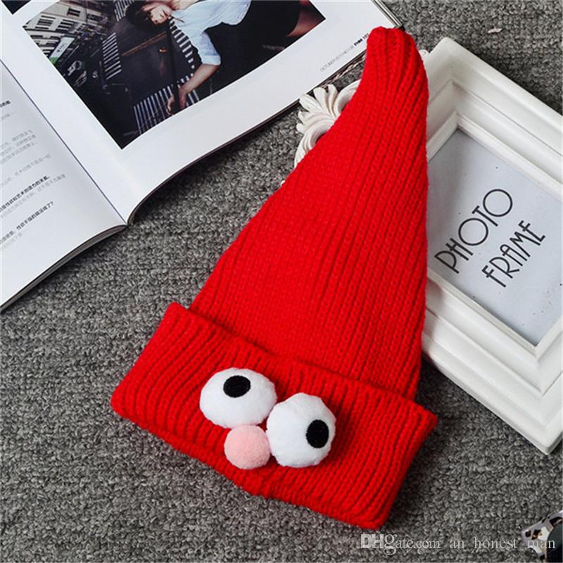 Autumn Winter Kids Pointy Wizard Hat Children's Christmas Hat Big Eye Baby Cap Boys Girls Knitted Cartoon Beanies Hats