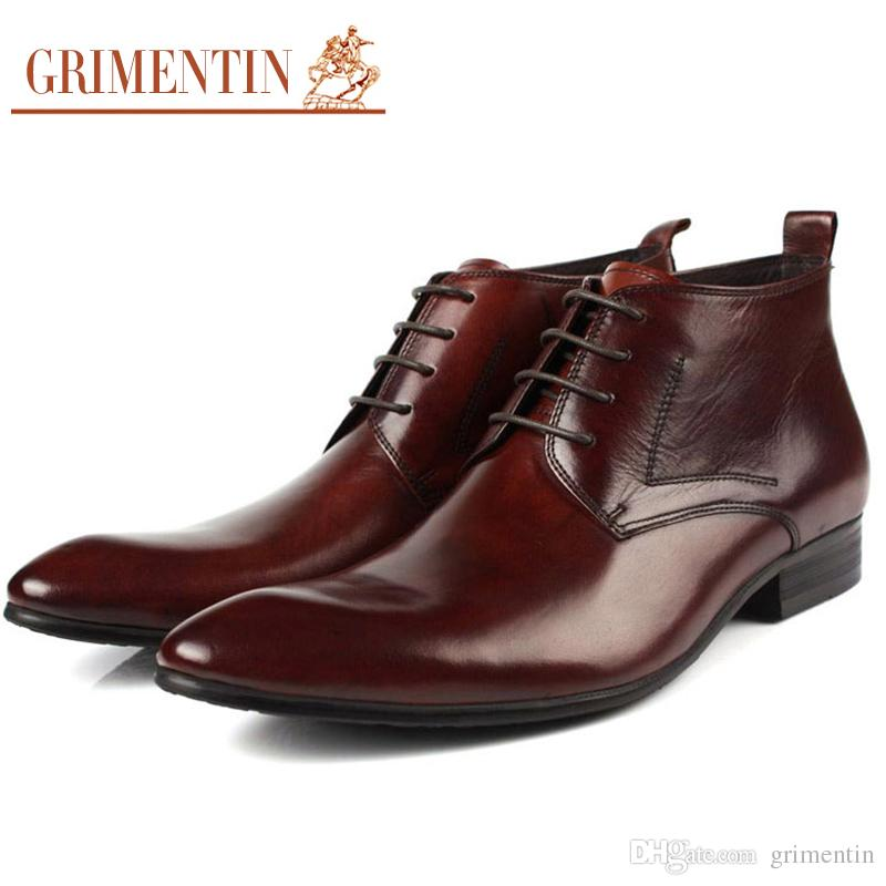 5780c43336 GRIMENTIN Hot Sale Brand High Quality Mens Boots 100% Genuine Leather Black  Brown Dress Ankle Men Formal Boots For Business Men Shoes Winter Boots For  Women ...