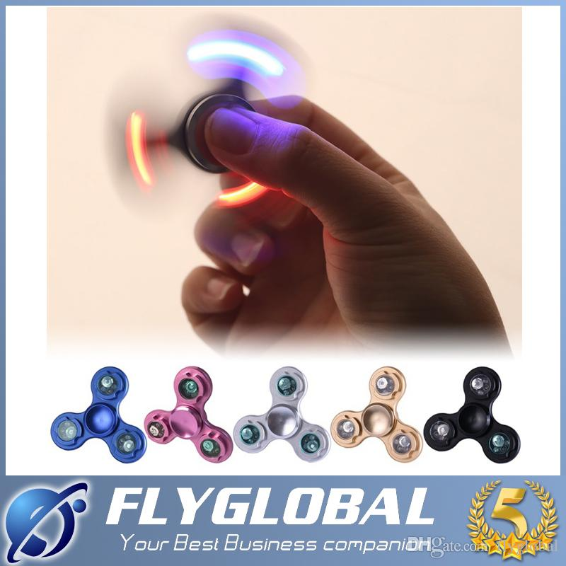 3 Pins Led Flash Light Hand Spinner Metal Led Fid Spinner Finger