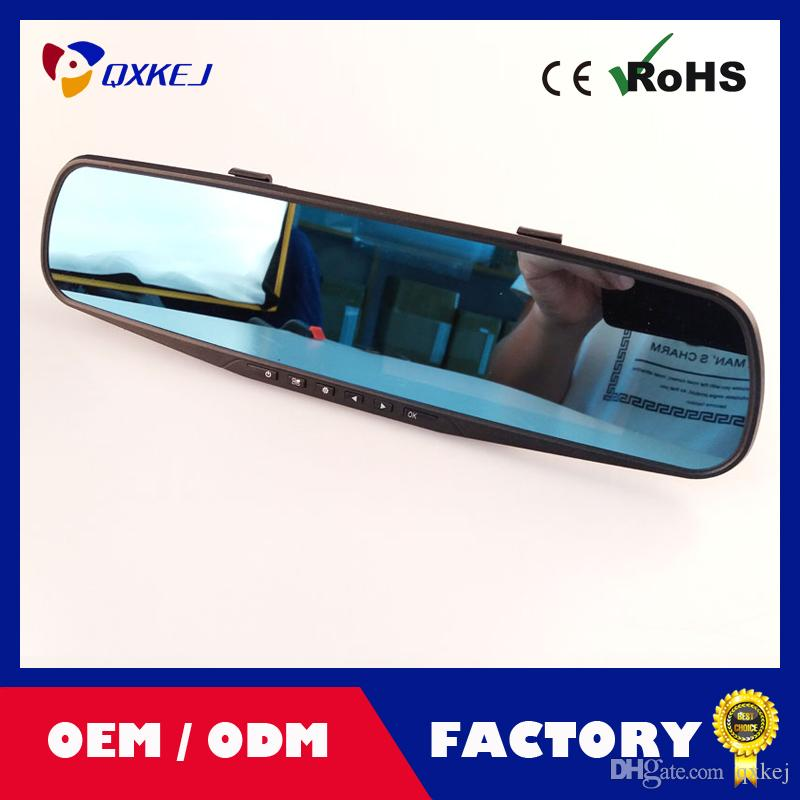 Dual-lens Car DVR Dashcam, Full HD 1080P with 4.3 inch LCD, Rearview Mirror Design With 16G TF Card