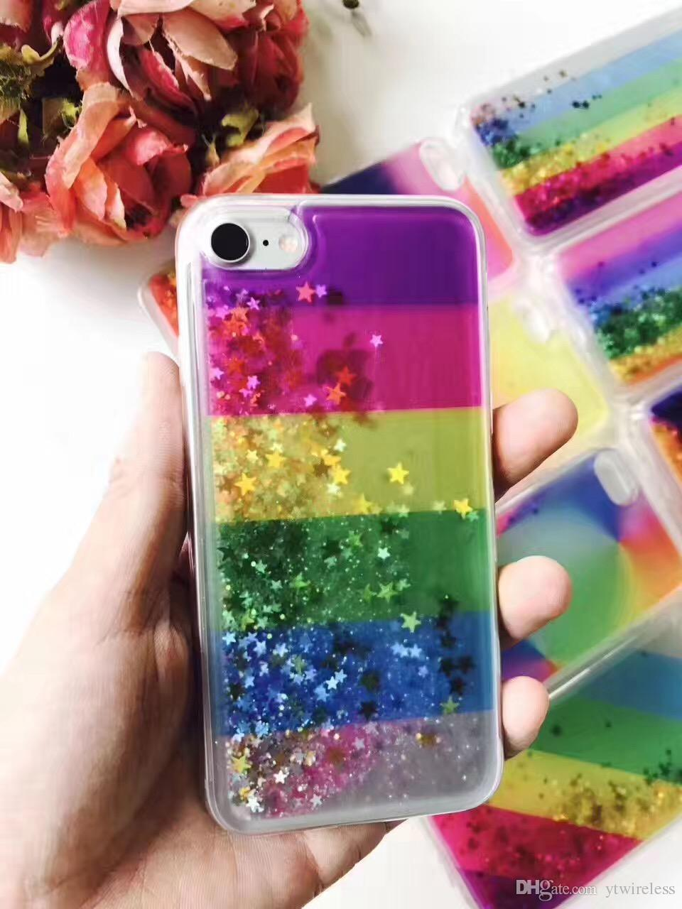 For LG K7 K8 K10 K4 K5 Colorful Cheap Good Quality Hybrid Water Liquid Glitter Phone Case Floating Star TPU Shining Rainbox Cover