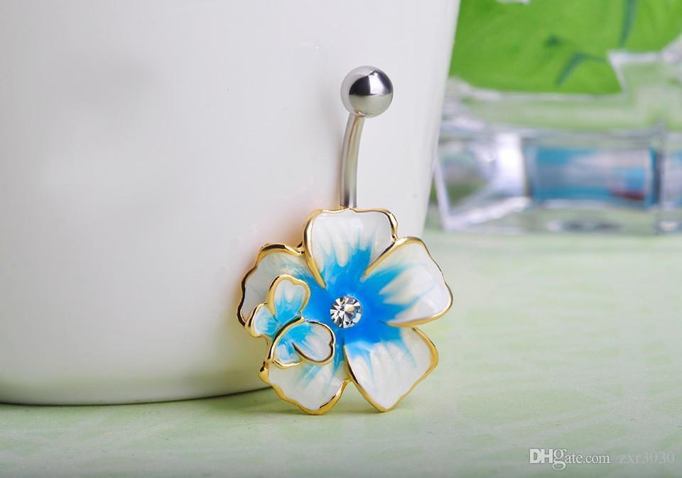 Shiny Trendy Women navel Piercing Collar Feminino Flower belly rings Piercings Enamel Navel Rings For Gothic Women Bijoux Colares