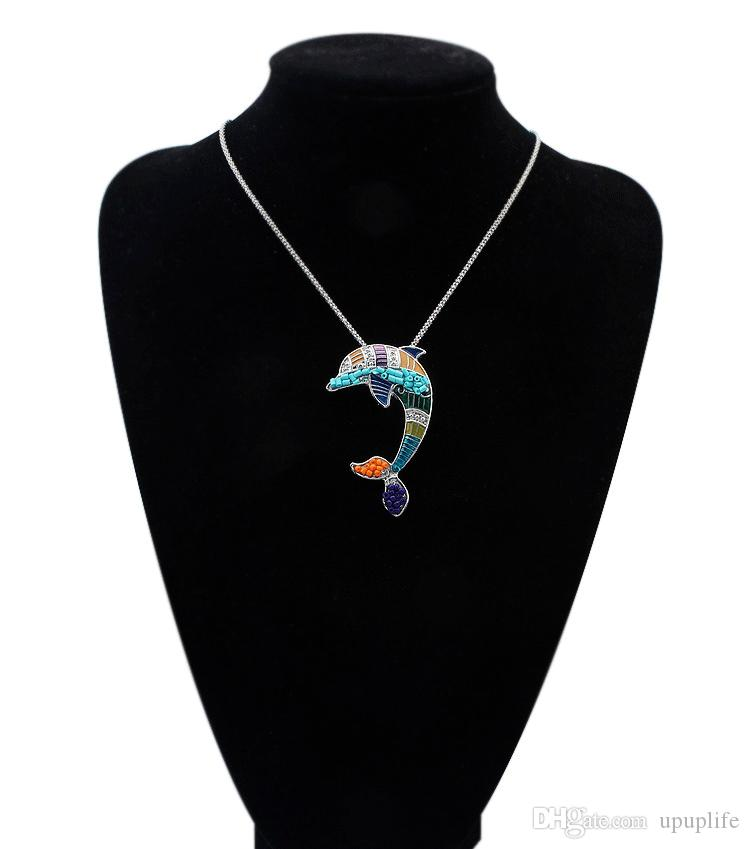 Bohemian Jewelry Sets For Women Fashion Jewelry Silver Plated Multi Color Enamel Tiny Cute Dolphin Pendant Necklace Earrings Set