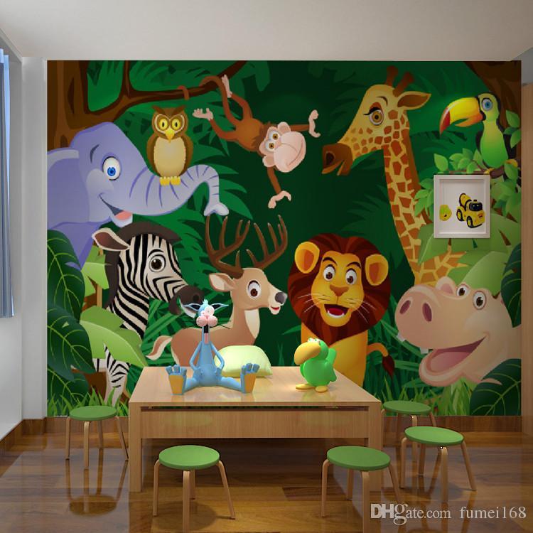Satin Al Cocuk Odasi Anaokulu Buyuk 3d Duvar Hayvanlar Orman