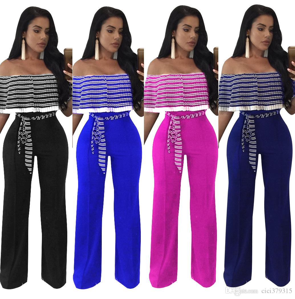 d9bdf0417c4e 2019 Plus Size Off Shoulder Women Jumpsuit Rompers Stripped Backless Slash  Neck Short Sleeve Ruffle Sexy Club Wide Leg Jumpsuit From Cici379315
