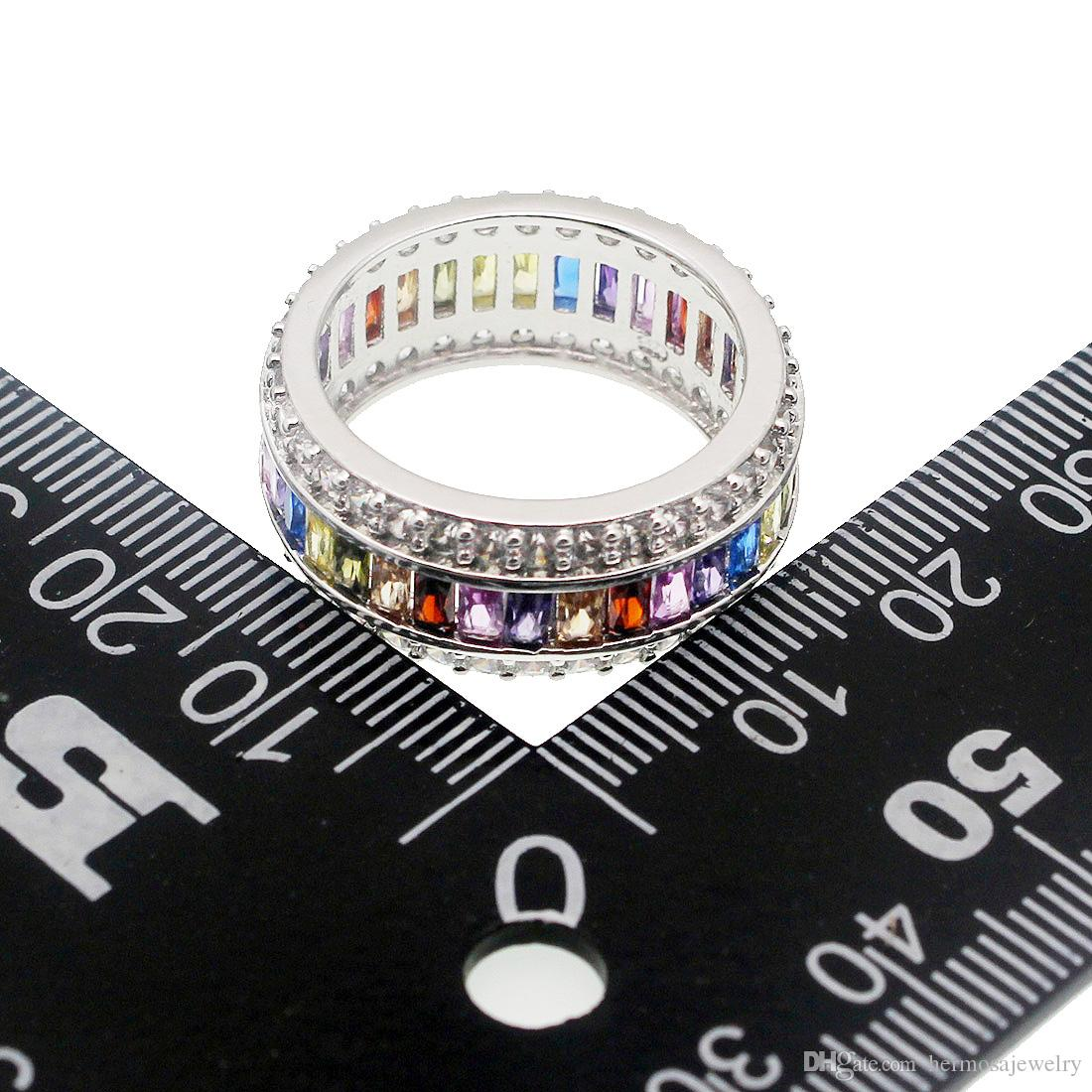 Anello di fidanzamento in argento sterling 925 con gemme naturali di granato, ametista, peridoto, Morganite, regalo di gioielli moda femminile