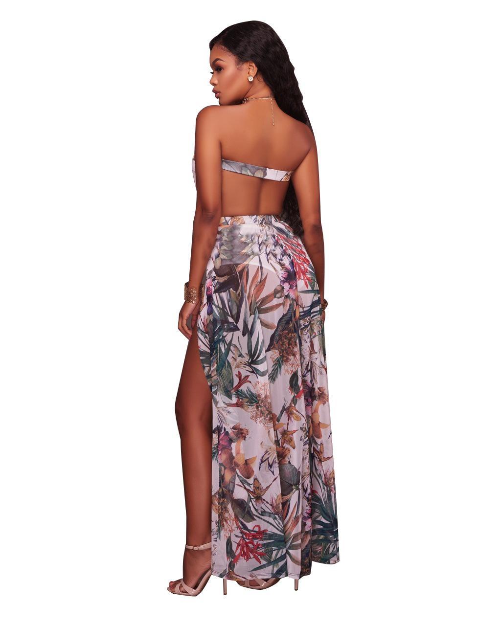 NOVA Design Especial de Moda Maxi Vestidos Longos Impresso Sexy Alta Fenda Strapless Casual Plus Size Roupas Femininas S-3XL