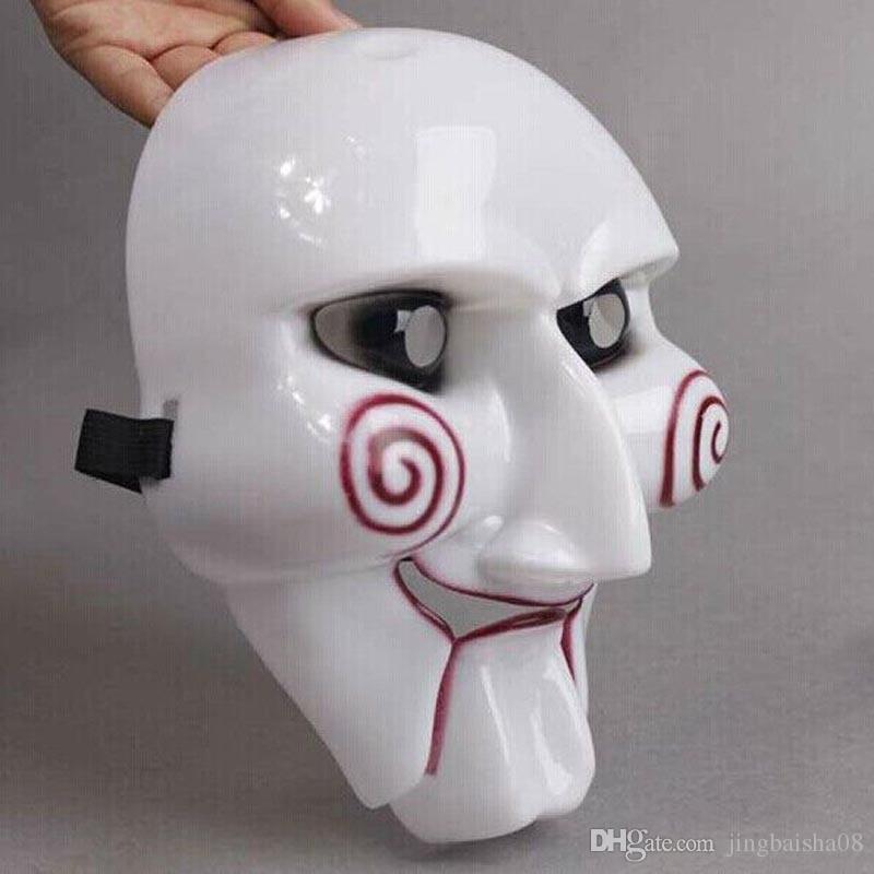 white halloween mask electric saw theme at the mask killer mask