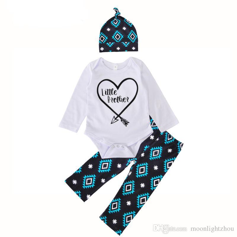 7662d5573ae5 2019 Newborn Baby Clothing Set Brand Heart Arrow Little Brother ...