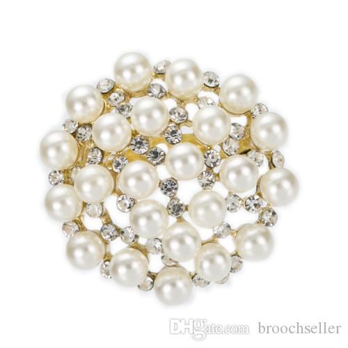 1.7 Inch Gold Plated Clear Rhinestone Crystal and Imitation Cream Pearl Round Brooch Wedding Cake Pins