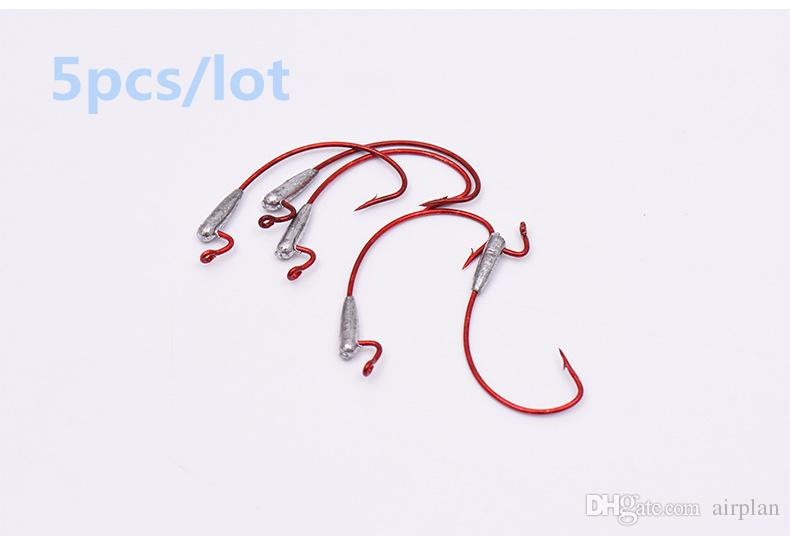 of Fishhooks with Lead Crank Fishing Barbed Hook Sharp Curved Hooks River Lake Fishing Accessories Red or White Pesca Hooks