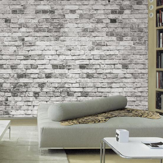 Wholesale wallpapers for living room 3d wall mural stone for Grey brick wallpaper bedroom