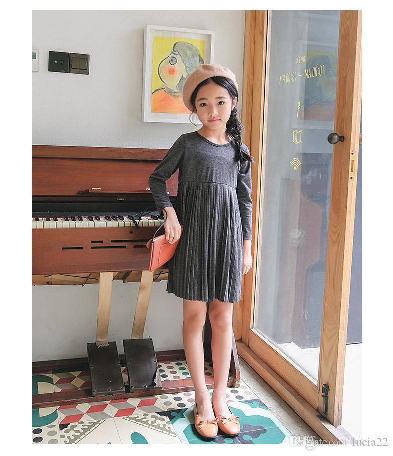 Kızlar elbise sonbahar 2017 yeni Koreli çocuklar moda uzun kollu elbise Prenses Elbise pileli etek gri S öğrencileri