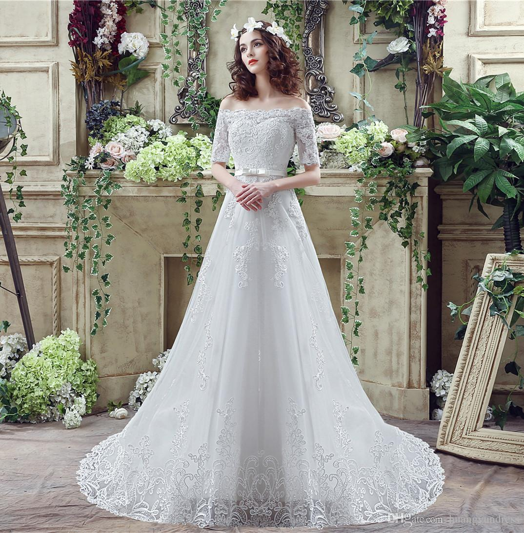 Discount Charming Off Shoulder Wedding Dresses 1 2 Sleeve Lace Up Back White Appliqued Gowns Sweep Train A Line Long Bridal Dress Christian