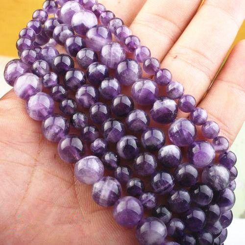 Natural amethyst gem loose beads bracelet necklace Strand Amethyst Gem Round Loose Beads Natural 8mm