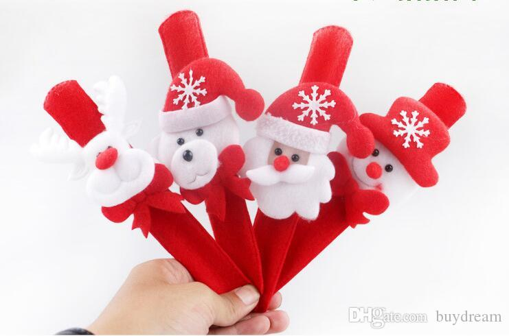 Nouvel an 2017 Sequin Clap Circle Christmas Pat Bague à la main Chrismas Santa Slap Bracelet Cadeaux Pour vos KIds