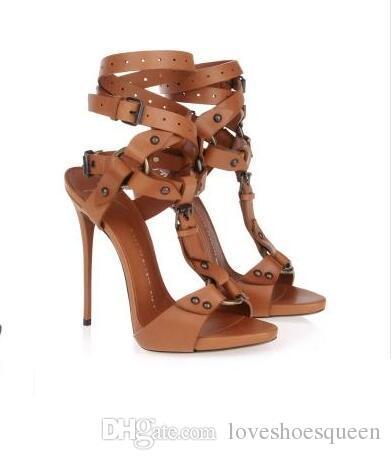 2017 Negro / marrón hebilla de cuero del tobillo envoltura correa tacones altos sandalias mujeres peep toe gladiador sandalias zapatos de vestir tamaño grande sandalia 43