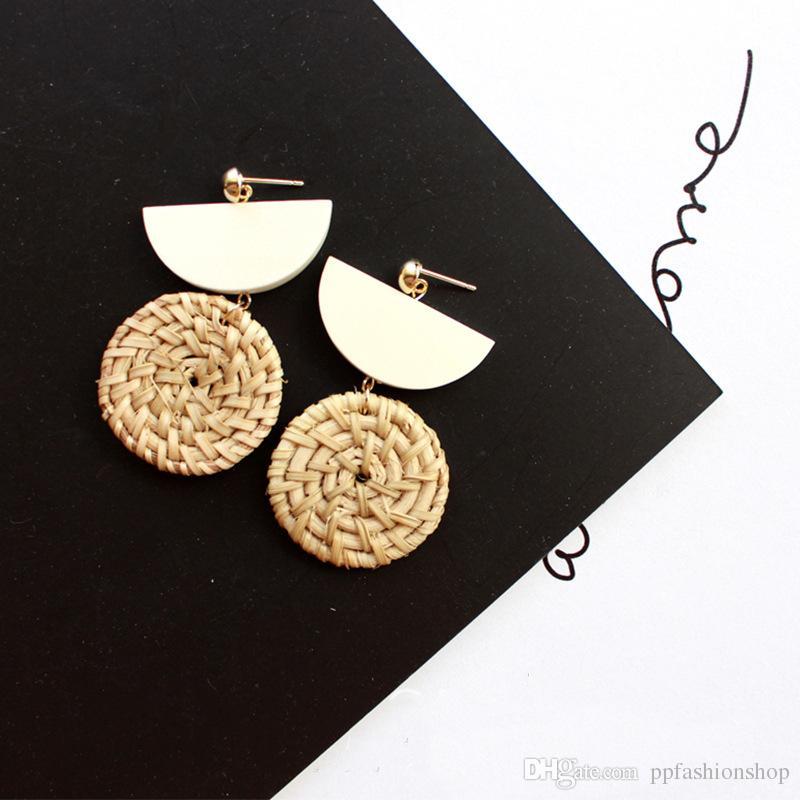 2017 HOT earrings Korean exotic national style hand-woven wood rattan weaving earrings earrings