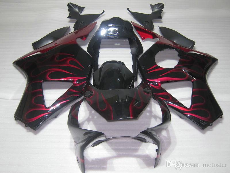 Bodywork plastic fairing kit for Honda CBR900RR 2002 2003 red flames black fairings set CBR 954RR 02 23 OT41