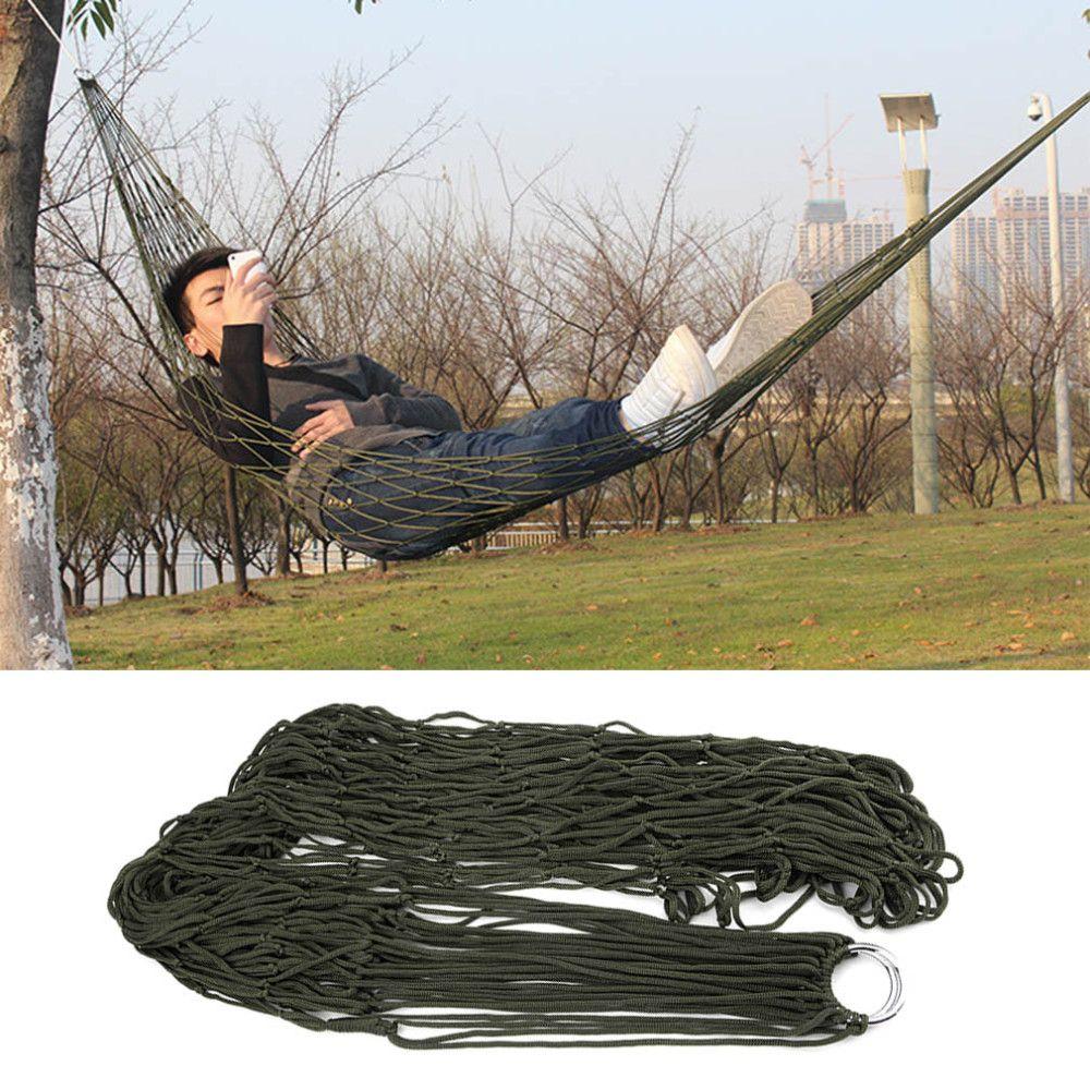 New Arrival portable outdoor thickening nylon rope camping hammock Simple single Summer Lightweight Nylon meshy hammock