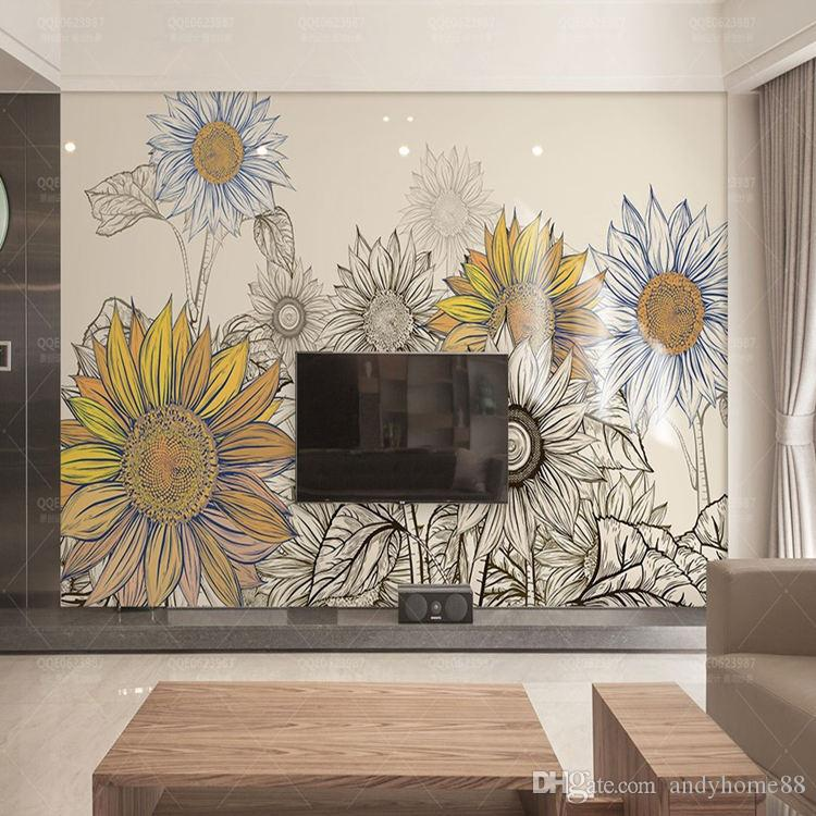 3d Modern Minimalist Tv Wall Background Wall Wallpaper Living Room Bedroom  Sofa Wallpaper American Pastoral Sunflower Murals Desktop Wallpaper  Download ...