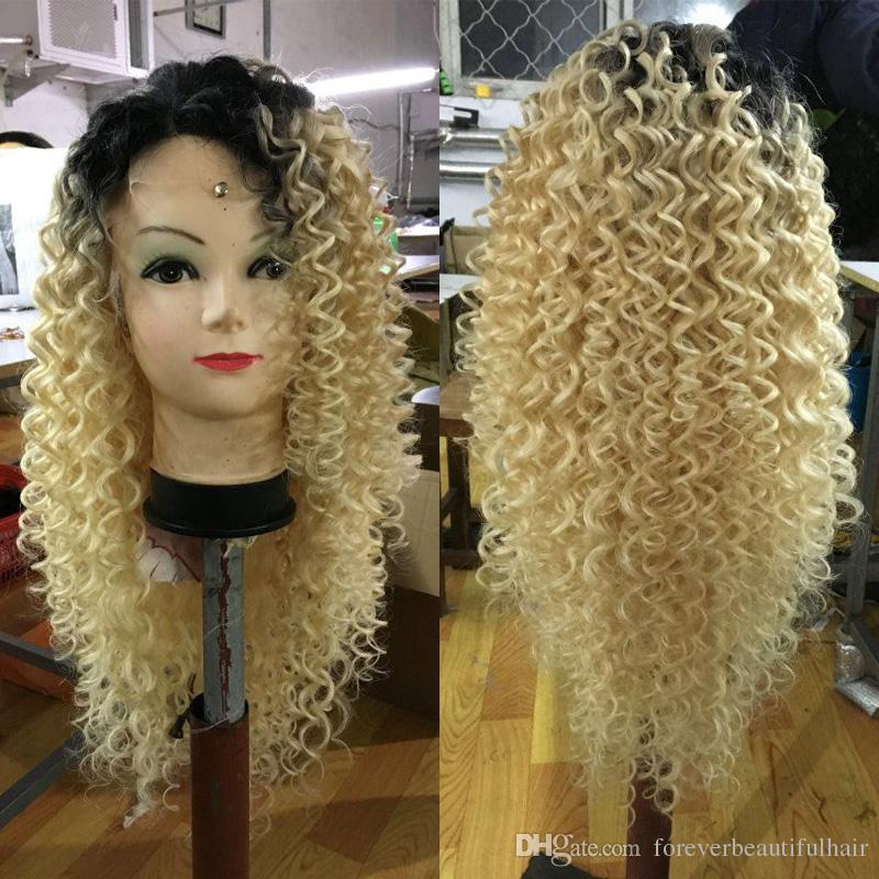 # 1b 613 Blonde perruques de cheveux humains Kinky bouclés brésiliens Blonde Full Lace perruques de cheveux humains peuvent être teints pour femme