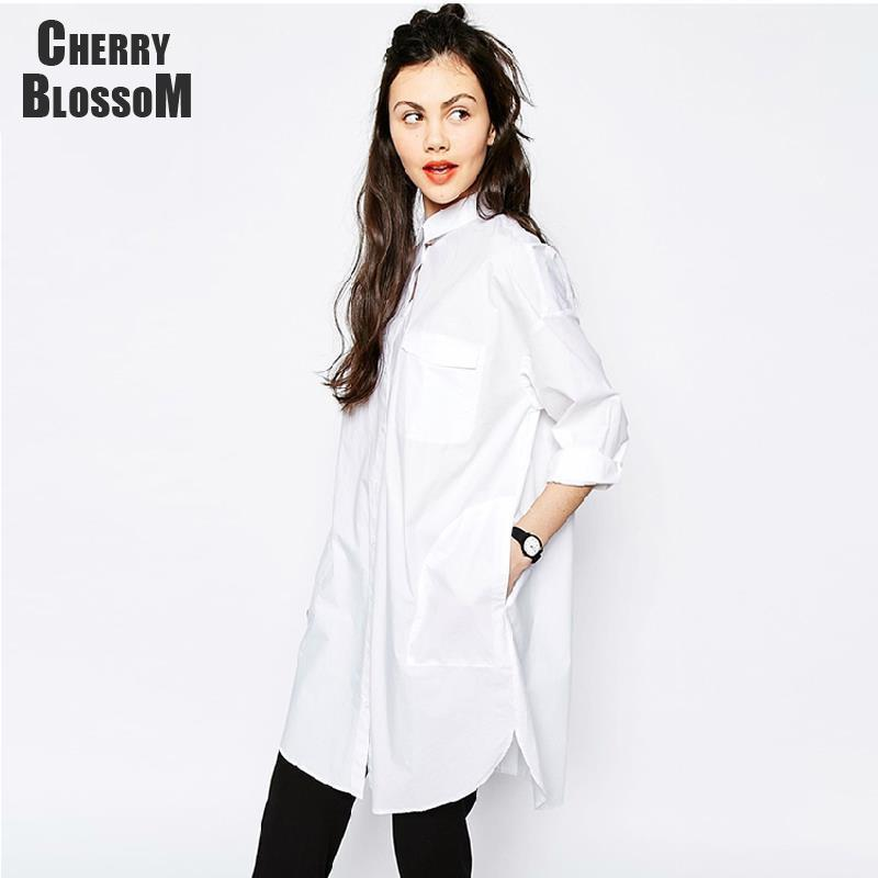 bdcc2b20dee83 Wholesale- White Shirt Dress Women Boyfriend Style Long Sleeve ...