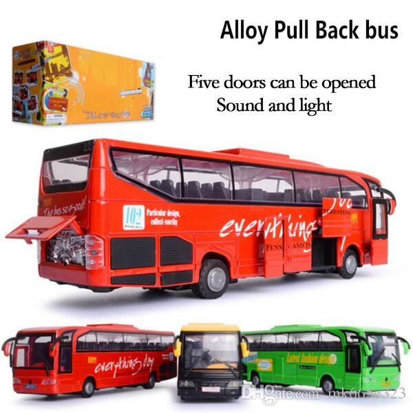 2019 diecast model bus toy die cast vehicles pull back kids toys