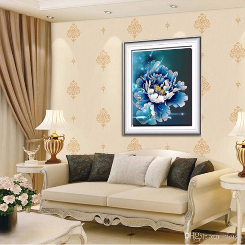 5D elmas mozaik kendisi şakayık çiçek resimleri 3D elmas nakış duvar sticker ev dekor tuval Sementes-de flores hediye