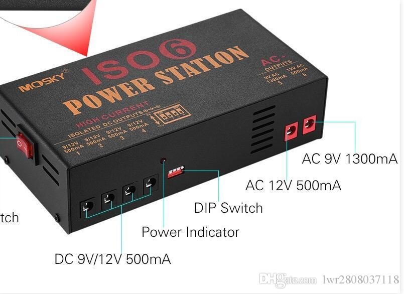 MOSKY ISO-6 ISOLATED Outputs Pedal Power Supply Power For 9V,12V,18V ,4-9V Adj Internal toroidaltransformer
