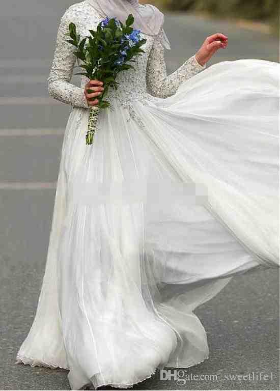 Modest Muslim Evening Dresses Crew Neck Chiffon 2019 Long Sleeves Abaya Islamic Dubai Hijab Formal Evening Gowns Elegant White Prom Dresses