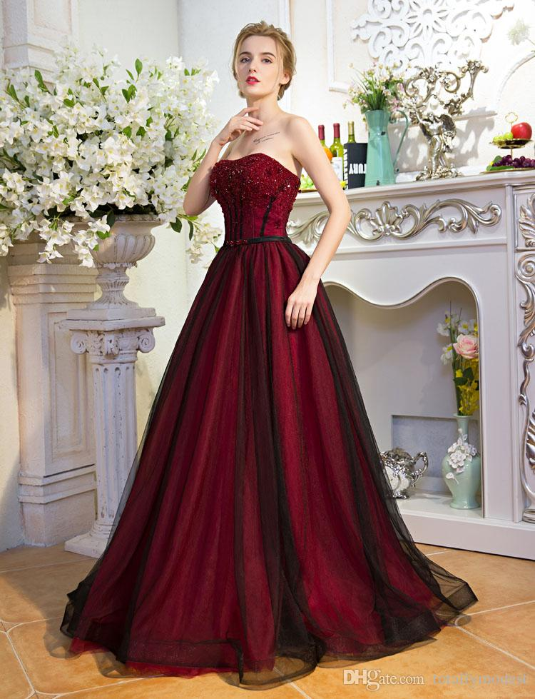 Black And Red Gothic A-line Wedding Dresses Strapless Sparkly Bead Non White Vintage Colorful Wedding Gowns Robe De Mariee