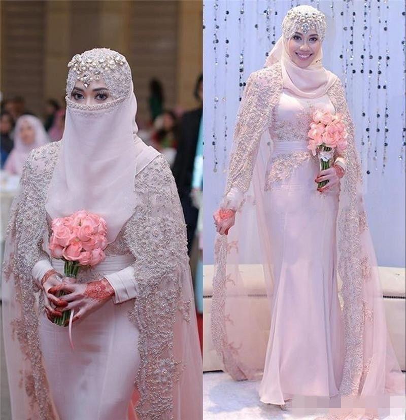 Compre Preciosa Vestidos De Novia Árabe Musulmanes 2017 Alta Encaje ...