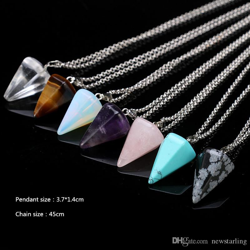 Hexagon Prism Natural Stone Pendant Necklaces Point Chakra Healing Cross Heart Crystal Stainless Steel Leather Christian Jewelry