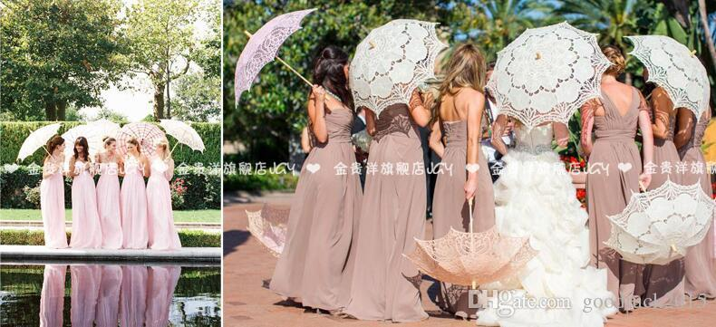 Ivory Bridal Princess Flower Girl Parasols Hollow Umbrellas And Fans Set Cheap For Wedding Party Accessories 2017 Hot